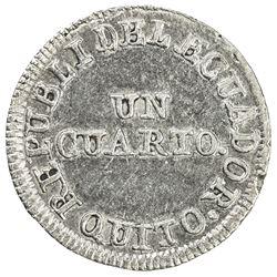 ECUADOR: Republic, AR 1/4 real, Quito, 1852. AU