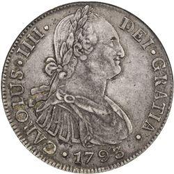 GUATEMALA: Carlos IV, 1788-1808, AR 8 reales, 1793-NG, KM-53, assayer M, NGC graded EF45