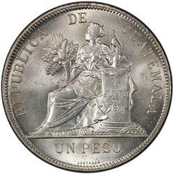 GUATEMALA: Republic, AR peso, 1894. PCGS MS64