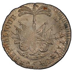 HAITI: Western Republic, 1807-1818, AR 25 centimes, AN 14 (1817). PCGS MS65