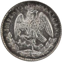 MEXICO: Maximiliano, 1864-1867, AR 5 centavos, 1864-M. NGC MS64