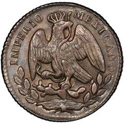 MEXICO: Maximiliano, 1864-1867, AR 5 centavos, 1864-M. PCGS MS63