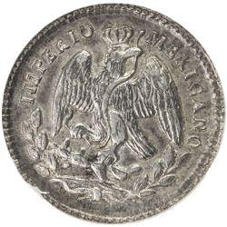 MEXICO: Maximiliano, 1864-1867, AR 5 centavos, 1865-Z. NGC MS62