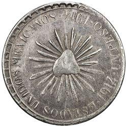MEXICO: Revolutionary Issue, AR peso (22.84g), Cuencame, 1914. EF-AU