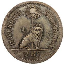 PARAGUAY: Republic, 1811-, AR 2 reales, 1869. UNC