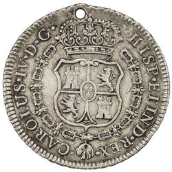 PERU: Carlos IV, 1789-1808, AR proclamation medal (14.07g), 1789. VF-EF