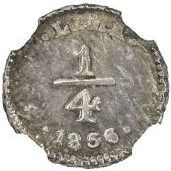 PERU: Republic, AR 1/4 real, 1856/36. NGC MS62