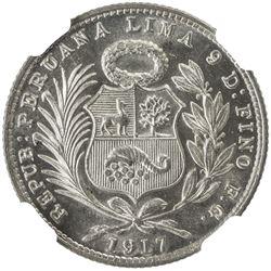PERU: Republic, AR 1/5 sol, 1917. NGC MS65