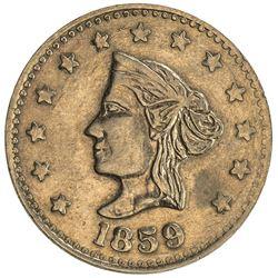 UNITED STATES: California , AV token (1.87g), 1859. VF