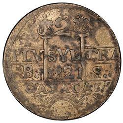 VENEZUELA: Fernando VII, 1808-1821, AR 2 reales, Caracas, 1821. PCGS EF45
