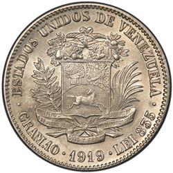 VENEZUELA: Republic, AR 2 bolivares, 1919. PCGS MS62