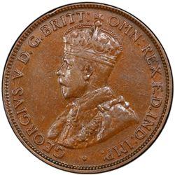 AUSTRALIA: George V, 1910-1936, AE halfpenny, 1923. PCGS AU50