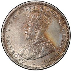 AUSTRALIA: George V, 1910-1936, AR shilling, 1924. PCGS AU