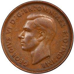 AUSTRALIA: George VI, 1936-1952, AE penny, 1946. PCGS EF45