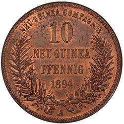 GERMAN NEW GUINEA: Wilhelm II, 1888-1918, AE 10 pfennig, 1894-A. PCGS MS63