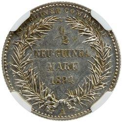 GERMAN NEW GUINEA: Wilhelm II, 1888-1918, AR 1/2 mark, 1894-A. NGC PF