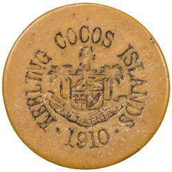 KEELING-COCOS ISLANDS: John S. Clunies-Ross, 1910-1944, 2 rupees token, 1913. F-VF