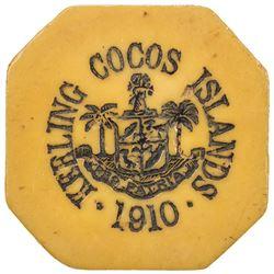 KEELING-COCOS ISLANDS: John S. Clunies-Ross, 1910-1944, 5 rupees token, 1913. VF-EF