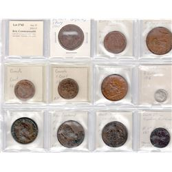 WORLDWIDE: BRITISH COMMONWEALTH: LOT of 11 Commonwealth coins and tokens