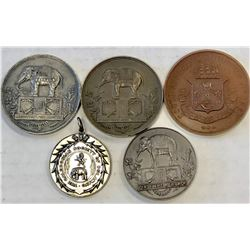 WORLDWIDE: LOT of 5 diverse elephant medals