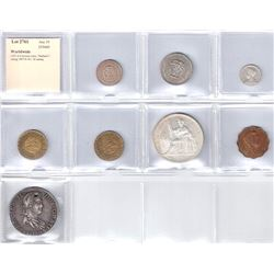 WORLDWIDE: LOT of 8 diverse coins