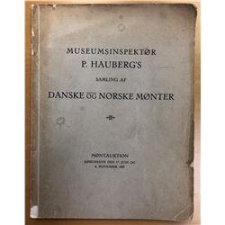 Hede, Holger. Museumsinspektor P. Hauberg's Samling af Danske og Norske Monter