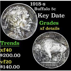 1918-s Buffalo Nickel 5c Grades xf details