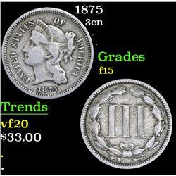 1875 Three Cent Copper Nickel 3cn Grades f+