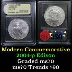 2004-p Edison Modern Commem Dollar $1 Graded ms70, Perfection By USCG