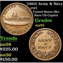 (1863) Army & Navy Civil War Token 1c Grades Choice AU