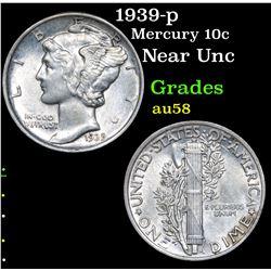 1939-p Mercury Dime 10c Grades Choice AU/BU Slider