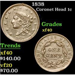 1838 Coronet Head Large Cent 1c Grades xf