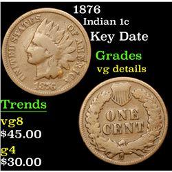 1876 Indian Cent 1c Grades vg details