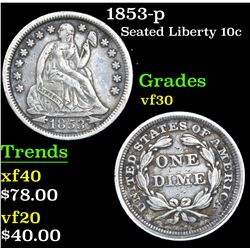 1853-p Seated Liberty Dime 10c Grades vf++