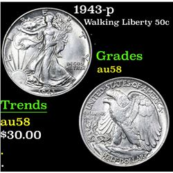1943-p Walking Liberty Half Dollar 50c Grades Choice AU/BU Slider