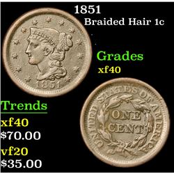 1851 Braided Hair Large Cent 1c Grades xf