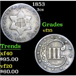 1853 Three Cent Silver 3cs Grades vf++