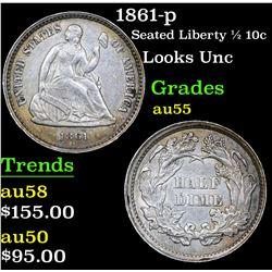 1861-p Seated Liberty Half Dime 1/2 10c Grades Choice AU