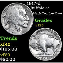 1917-d Buffalo Nickel 5c Grades vf+