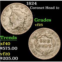 1824 Coronet Head Large Cent 1c Grades vf+