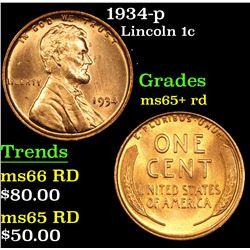 1934-p Lincoln Cent 1c Grades Gem+ Unc RD