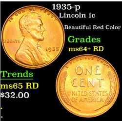 1935-p Lincoln Cent 1c Grades Choice+ Unc RD