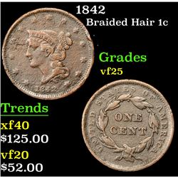 1842 Braided Hair Large Cent 1c Grades vf+