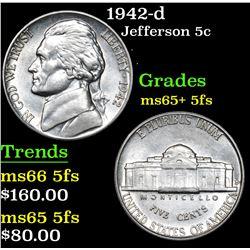1942-d Jefferson Nickel 5c Grades GEM+ 5fs