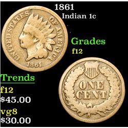 1861 Indian Cent 1c Grades f, fine