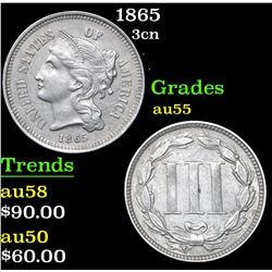 1865 Three Cent Copper Nickel 3cn Grades Choice AU