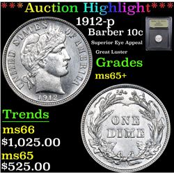 ***Auction Highlight*** 1912-p Barber Dime 10c Graded GEM+ Unc By USCG (fc)