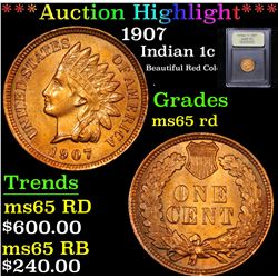 ***Auction Highlight*** 1907 Indian Cent 1c Graded GEM Unc RD By USCG (fc)