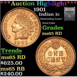 ***Auction Highlight*** 1901 Indian Cent 1c Graded GEM Unc RD By USCG (fc)