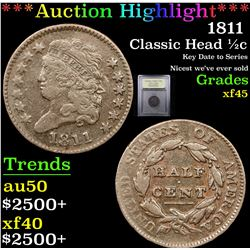 ***Auction Highlight*** 1811 Classic Head half cent 1/2c Graded xf+ By USCG (fc)